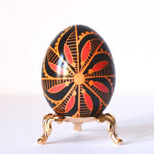 black pysanka decorated egg shell handmade in canada heritage