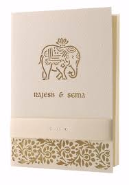 asian wedding invitation elephant laser cut luxury indian hindu asian wedding