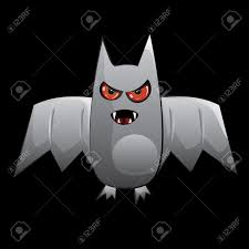 cartoon halloween bat with red eyes on black background royalty