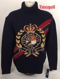 wool sweater polo ralph intarsia knit stadium retro style crest wool