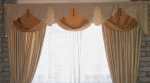 bedroom ideas window treatment ideas with cream curtain and swag