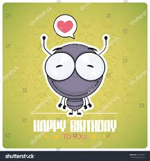 funny happy birthday greeting card cartoon stock vector 763744879