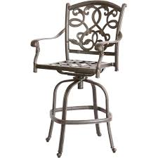 exterior black wrought iron swivel bar stool with sling padded