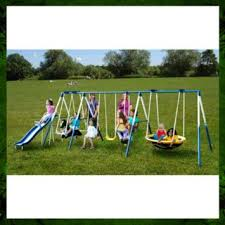 buy metal swing set outdoor patio swings kids slide backyard
