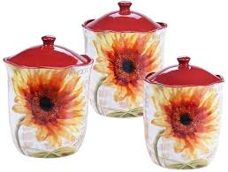 sunflower canisters for kitchen certified international sunflower 3 pc kitchen canister set