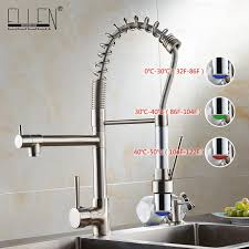 kitchen faucets brushed nickel water tap kitchen pull out faucet led light kitchen faucet mixer