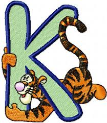 tiger alphabet letter k machine embroidery design for quilt and