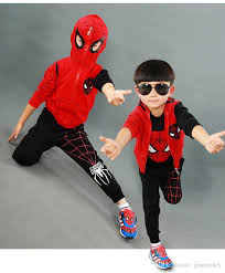 Boys Spider Halloween Costume 2017 Boys Halloween Costume Spider Man Clothes Sets Hoodie