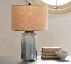 alana luster glass table lamp base indigo pottery barn