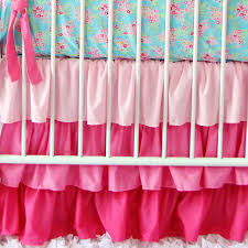 Pink And Teal Crib Bedding by Light Pink Solid Ruffle Crib Skirt Baby Bedding Crib Skirts And