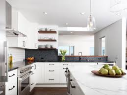 inspiring small kitchen with modern white cabinets and contrastive
