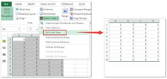 how to limit number of rows and columns in a worksheet in excel