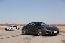 vs porsche 911 turbo 2014 porsche 911 turbo vs audi r8 v10 plus car reviews