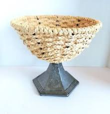 modern fruit basket braided grass metal pedestal basket rustic modern fruit basket