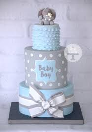 baby shower boy cakes a baby boy blue and grey baby shower cake based on a design by