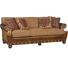 Leather And Upholstered Sofa Leather And Fabric Sofa M29 00 Lf Santa Fe King Hickory Outlet