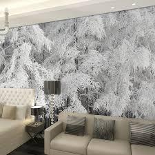 papier peint pour bureau beibehang neige pin cèdre arbres forestiers paysage papel de parede