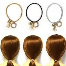 ponytail holder bracelet women glitter elastic ponytail holder dangle charm hair tie ring