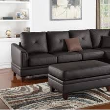Top Grain Leather Living Room Set by Esofastore Sectional Contemporary Brown Reversible Chaise Sofa Top