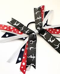 ribbon for hair that says gymnastics red navy white and silver gymnastic hair bows silver white and