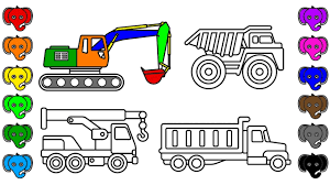 learn colors with construction truck and car coloring book pages