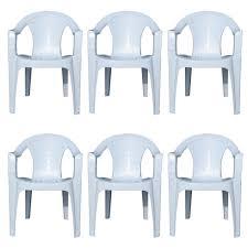 Patio Armchair 4 X Indoor U0026 Outdoor White Plastic Lawn Chairs Garden Patio