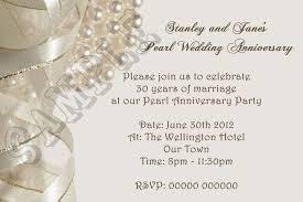 30 wedding anniversary personalised pearl wedding anniversary invitations 30th