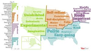 northeast map of us yougov the personality map of the usa