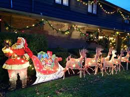 Outdoor Sleigh Decoration Santa Sleigh And Reindeer Outdoor Decoration 12 Sastisfying
