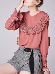 sleeve chiffon blouse pink frill trim sleeve chiffon blouse chiclookcloset