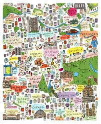 Tre Map Illustrated Map Of West London Print