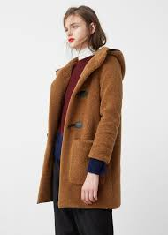 fluffy duffel coat autumn winter and shopping