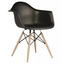 Dining Armchairs Eames Style Daw Molded In Black Plastic Dining Armchair With Wood