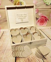 wishing box wedding box 40 hearts wedding guest book box wooden heart wishes