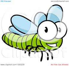clipart of a cartoon happy green dragonfly royalty free vector