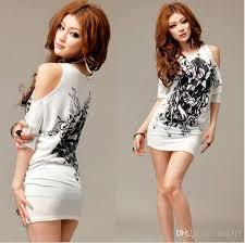 2015 south korea long off the shoulder t shirt dress show