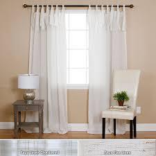 amazon com best home fashion faux linen tie top curtain pair 84
