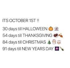 its october 1st 30 days till 54 days till thanksgiving
