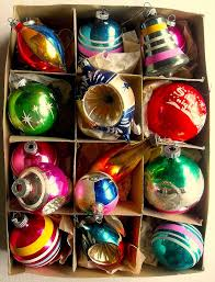 1940s 1950s vintage ornaments shiny brite box vintage