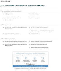 quiz u0026 worksheet endothermic u0026 exothermic reactions study com