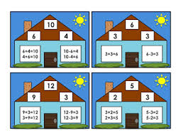 number fact families grade school box fact family cards