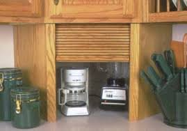 Wood Corner And Straight Appliance Garages Eclecticware - Kitchen cabinet roller doors