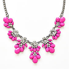 necklace pink stone images Stone bib necklace hot pink floral necklace made of stone jpg