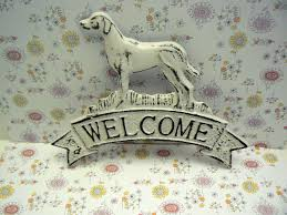 Cast Iron Home Decor Dog Welcome Cast Iron Door Shabby Chic White Home Decor