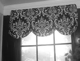 White Valance Scallop Window Valance Black White Ozbourne Damask Shaped