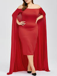 dresses red 4xl bodycon off the shoulder plus size cape dress