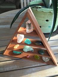 triangle shelf pyramid shelf homemade shelf reclaimed cedar