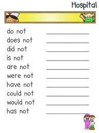 printable contraction worksheets for second grade contractions