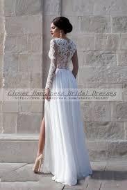 turmec long sleeve lace wedding dress open back