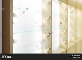 Showcase Design Wooden Showcase Design Mockup Side View 3d Rendering Clear White